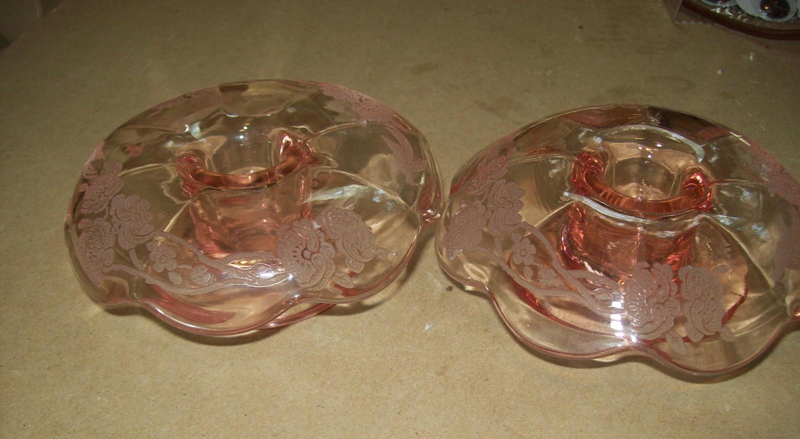 Pink Depression Paden City glass co, Nora Bird  Candlestick Holders Vintage image 3