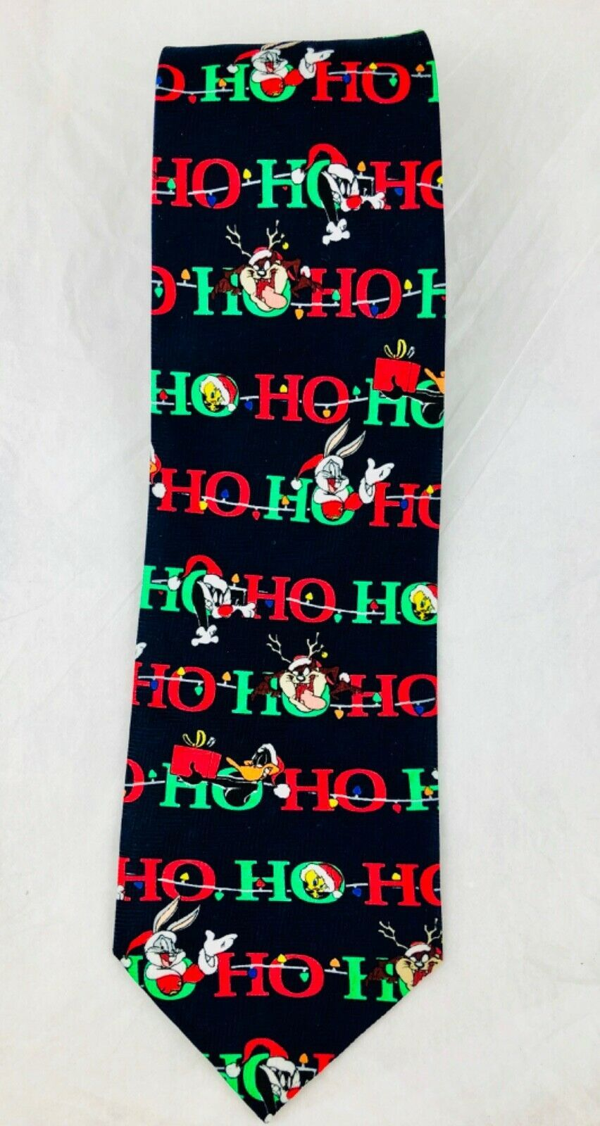 Primary image for Vintage Looney Tunes Christmas Ho Ho Bugs Bunny Daffy Duck Sylvester Necktie