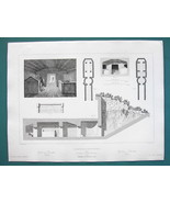 ARCHITECTURE (2) PRINTS 1850 - ITALY Etruscan Tombs at Cerveteri Ancient... - $13.49