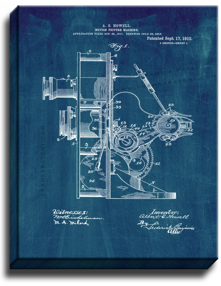 Primary image for Motion-picture Machine Patent Print Midnight Blue on Canvas