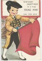 Vintage Birthday Card Bullfighter Card Juan from Spain 1969 Sincere Regards - $10.88