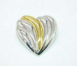 Danecraft Heart Brooch Dual Tone Gold Silver Brooch Pin Vintage 1.5 inches - $13.86