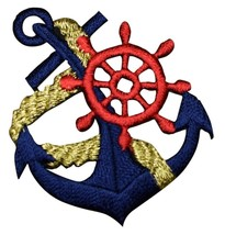 """Anchor Applique Patch - Ship's Wheel, Gold Rope 2"""" (Iron on) - $3.00"""