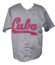 Custom Name # Team Cuba Retro Baseball Jersey Button Down Grey Any Size image 1