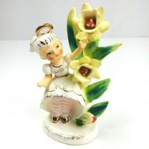 Vintage Lefton March Birthday Angel Girl Figurine #985 Daffodil Buttercu... - $34.60