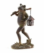 "12.5"" Upright Brown Frog Figurine w Hanging Langern on Branch Poly Resin, Iron"