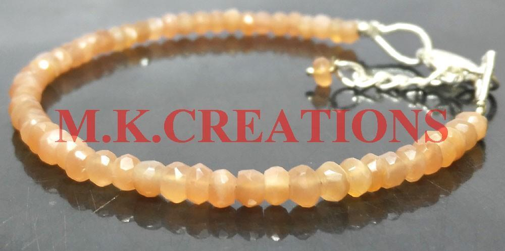 "Primary image for Natural Peach Moonstone 3-4mm Beads 6"" Long 925 Silver Beaded Chain Bracelet"