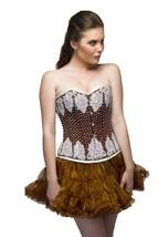 Brown Satin White Sequins Overbust Top &Tissue Skirt PLUS SIZE Corset Pr... - $104.76