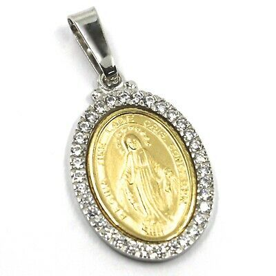18K YELLOW WHITE GOLD ZIRCONIA MIRACULOUS BIG 27mm MEDAL VIRGIN MARY MADONNA