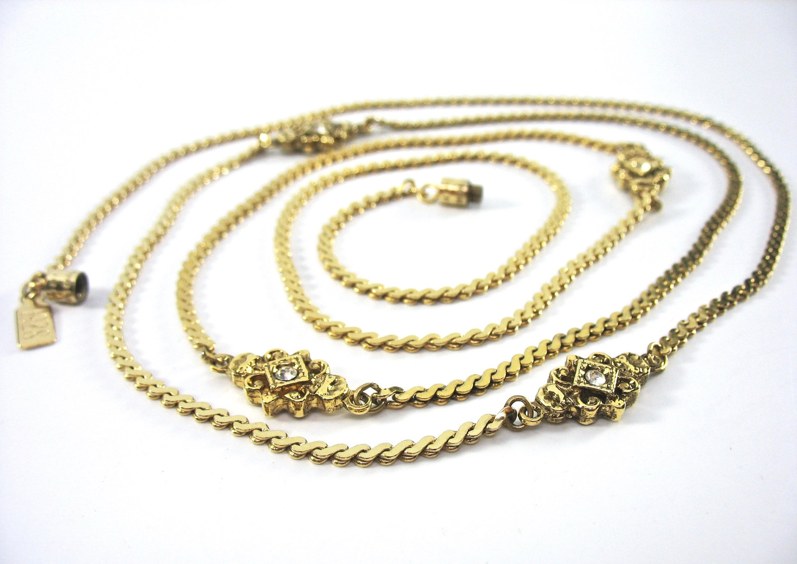 Rhinestone Gold Chain Necklace, 1928 Hang Tag, Made in USA, Long, Barrel Clasp,
