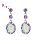 Large White Fire Opal Oval Stone Earrings Silver Plated Violet Lilac Purple Zirc - $15.91