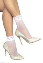 2 Pairs Ladies Lace trim fishnet ankle Socks  - 4-7 uk, 37-41 eur - White - $6.37