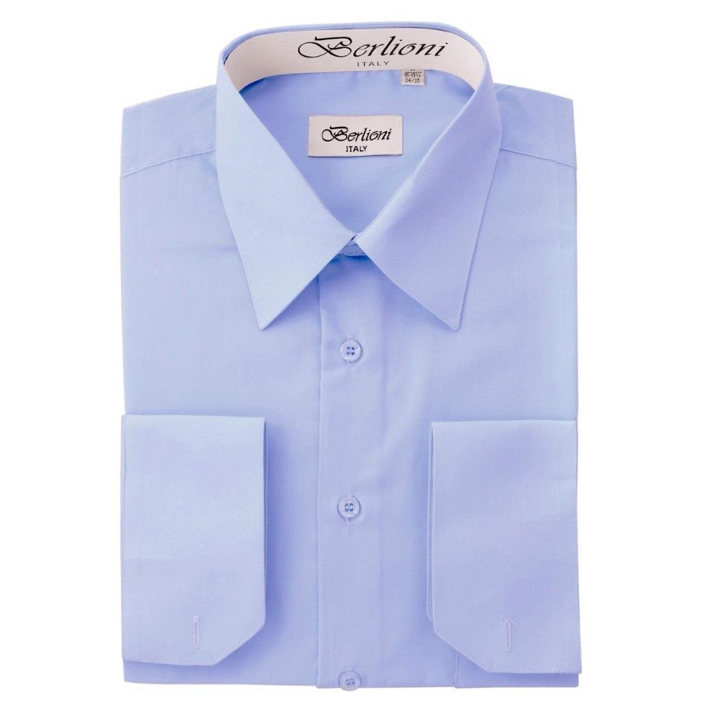 BERLIONI ITALY MEN'S PREMIUM FRENCH CONVERTIBLE CUFF SOLID DRESS SHIRT SKY BLUE