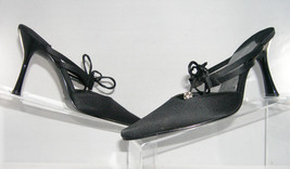 Enzo Angiolini 'Asire' black pointed toe canvas ribbon mules slides wome... - $9.22