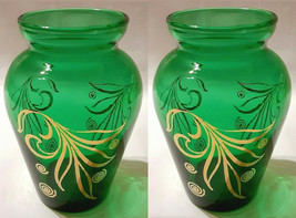 """Pair of Vintage 1960's Anchor Hocking Small Green & Gold Bud Vase     3 7/8"""""""