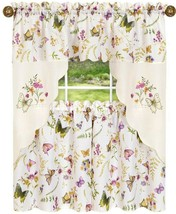 "Embellished Cottage Curtains Set (58""x36"") BUTTERFLIES & FLOWERS,ENCHANT... - $22.76"