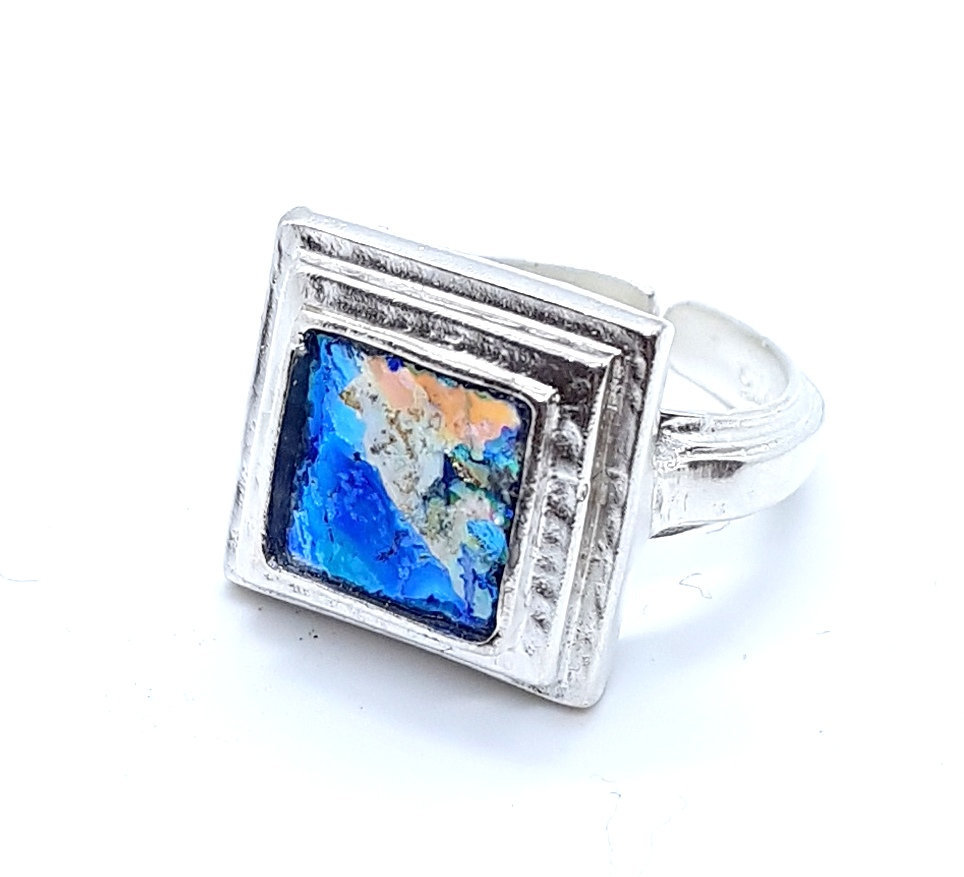 Primary image for Amazing One Of A Kind Adjustable 925 Silver Bluish  Roman Glass Ring Square Ring