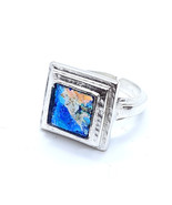 Amazing One Of A Kind Adjustable 925 Silver Bluish  Roman Glass Ring Squ... - $135.00