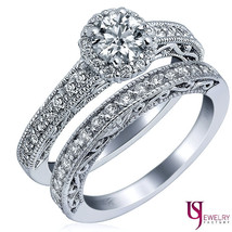 1 1/4 Carat Round Diamond Halo Wedding Bridal Set Millgrain Edge 14k Whi... - £1,985.83 GBP