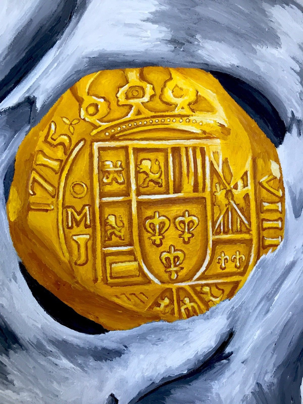 """Treasure Paintings by JR Bissell """"Golden Eye"""" Mexico 1715 Pirate Gold Coins"""