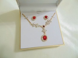 "Charter Club Gold Tone Red Crystal ""Y"" Necklace & Stud Earrings Set CL10... - $13.43"