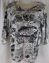 White Stag Black And White Las Vegas Print Beaded Bling Blouse size S 4/6 - $12.86