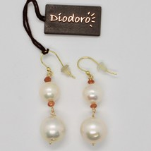 SOLID 18K YELLOW GOLD EARRINGS WITH WHITE FW PEARL AND CITRINE MADE IN ITALY image 2
