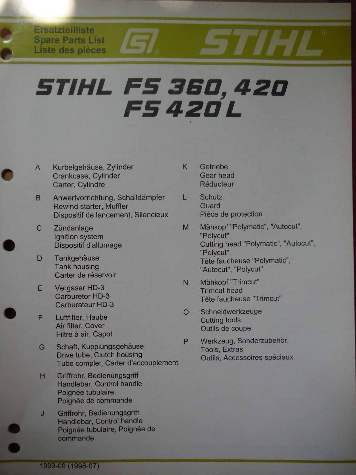 Stihl original spare parts list manual fs and 50 similar items s l1600 fandeluxe Choice Image