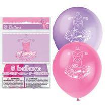 "Pink Ballerina 8 Latex Printed 12"" Balloons Birthday Party Dance - $2.49"