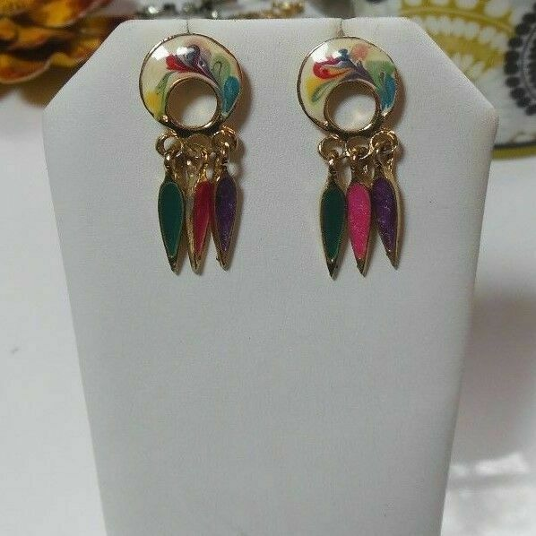 Primary image for Vintage signed Made in the USA Gold-tone Enamel Dangle Earrings