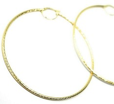 18K YELLOW GOLD BIG CIRCLE HOOPS DIAMETER 67mm EARRINGS TUBE 2mm FACETED STRIPED image 2