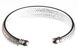 EleQueen Shiny Silver Tone 10-row Austrian Crystal Bangle Cuff Bracelet NWT image 3