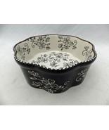 "Temp-Tations - Floral Lace Black - 6"" diameter octagonal scalloped baker... - $11.88"