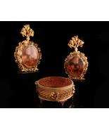 3 pc set - Antique French Perfume Bottles / large Ormolu Jewelry casket ... - $495.00