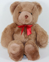 Vintage GUND LARGE BROWN TEDDY BEAR WEARING RED BOW Stuffed Plush SOFT T... - $29.69