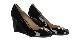 Tory Burch 'Jade' Peep Toe Wedge Black Patent Leather Style 31396 Size 1... - $188.09