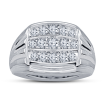 925 Sterling Silver 14k White Gold Plated Men's Band Wedding Ring Round Cut CZ - $85.47