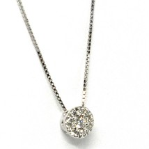 18K WHITE GOLD NECKLACE CENTRAL FRAME DIAMONDS .11 FLOWER PENDANT VENETIAN CHAIN image 2