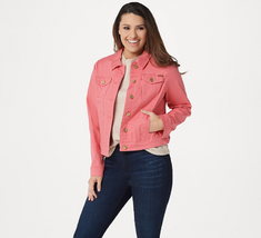 Isaac Mizrahi Live! TRUE DENIM Jean Jacket, Tea Rose, Size Plus 18 - $49.49
