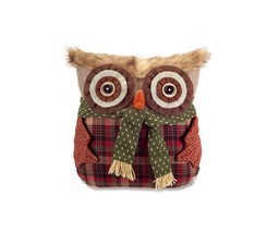 "14"" Country Cabin Plaid Dressed Owl with Green Scarf Decorative Christma... - $34.64"