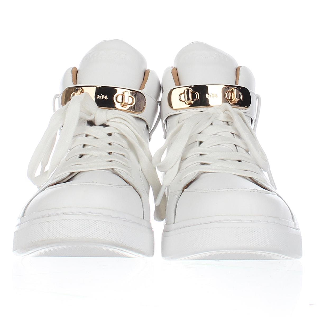 Coach Richmond Fleece Lined High Top Fashion Sneakers F61, White, 11 US Display