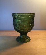 Vintage 60s EO Brody Avocado Green Depression Glass pedestal bowl