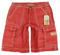 True Religion Men's Isaac Classic Cargo Sport Shorts 6 Pocket Coral