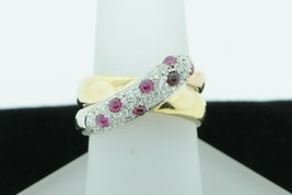 Designer 18K Yellow and Rose Gold Paved Cabochon Ruby and Diamond Ring (... - $785.00