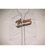 Miami Hurricanes NCAA ACC DeLong USA White Green Scripted Baseball Jersey L - $59.39