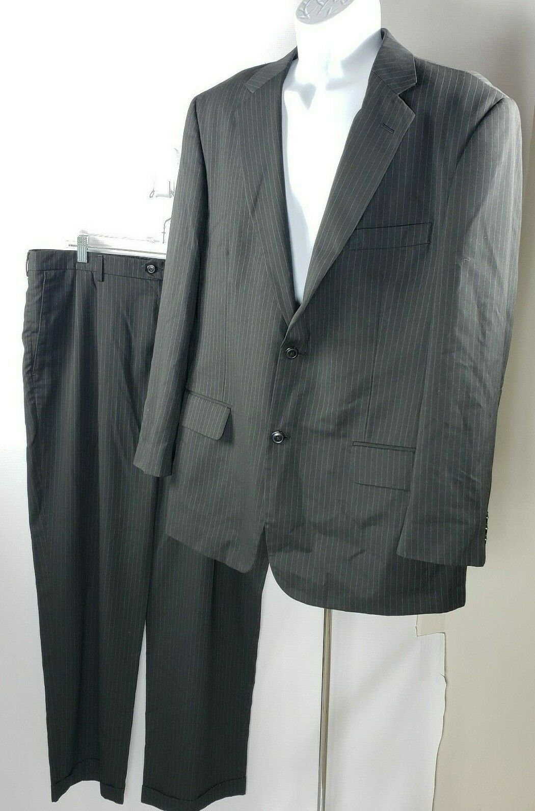 Primary image for Haggar 2-Piece Suit 2-Button Blazer 46R & Cuffed Pants 42x32 Black W/ Pinstripes