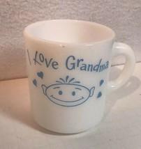 I Love Grandma Milk Glass Mug Light Blue Graphics on White Cup Vintage - $13.37