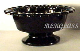 Black Glass Round Bowl, Colonial Lace Open Loop Edge - $18.99