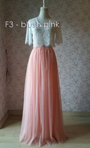 Blush Long Tulle Skirt Blush Wedding Bridesmaid Long Tulle Skirt A-line T1868 image 6