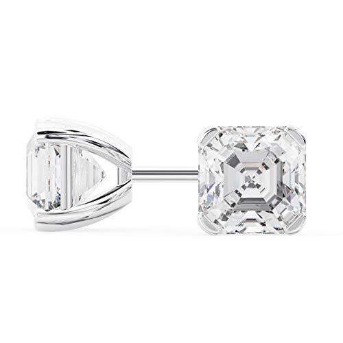 18k White Gold Asscher Shape Diamond Stud Earrings 1.50 Carats